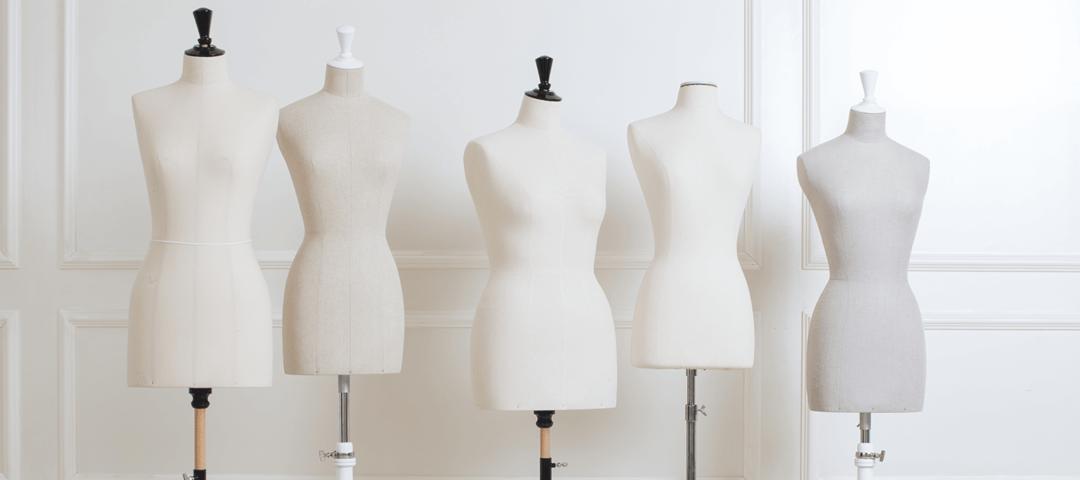 Buste de couture avec des morphologies différentes. Guide des tailles.