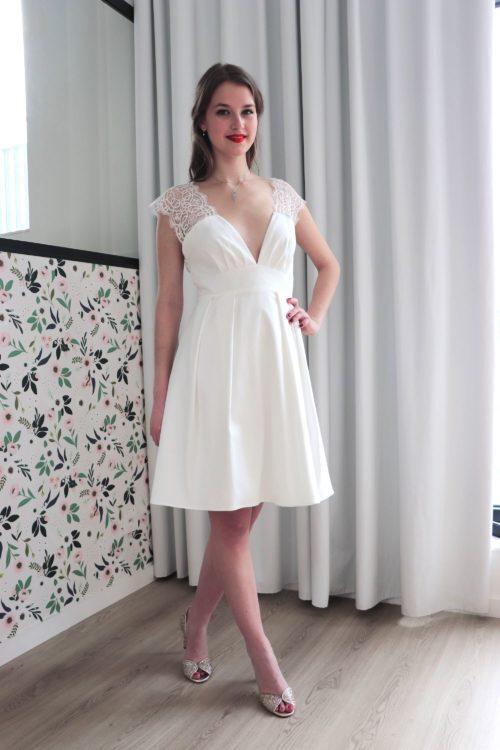 robe mariage civil Camille en crèpe et dentelle de Calais